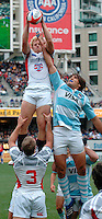February 15 2009, San Diego, CA, USA:  The IRB USA Sevens Tournament at Petco Park in Downtown San Diego.  US player James Gillenwater gets a lift from teammate Paul Emerick (3) to grab the ball in a line out against Argentina during the Cup Semi-Final against Argentina.  The US fell to Argentina at the last minute when Argentian scored from a kicked on ball that Santiago Gomez Cora fell on just ahead of US defenders.  Argentina went on to win the final against England 19 -14 and emerge as the tournament champions.