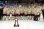 07 APR 2012:  Boston College celebrates their victory against Ferris State University during the Division I Men's Ice Hockey Championship held at the Tampa Bay Times Forum in Tampa, FL.  Boston College defeated Ferris State 4-1 to win the national title.  Matt Marriott/NCAA Photos