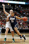 01 APRIL 2012:  Kaleena Mosqueda-Lewis (23) of the University of Connecticut drives past Brittany Mallory (22) of the University of Notre Dame during the Division I Women's Final Four semifinals at the Pepsi Center in Denver, CO.  Notre Dame defeated UCONN 83-75 to advance to the national championship game.  Jamie Schwaberow/NCAA Photos