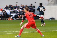 Philadelphia Union goalkeeper Zac MacMath (18). The New York Red Bulls defeated the Philadelphia Union 2-1 during a Major League Soccer (MLS) match at Red Bull Arena in Harrison, NJ, on March 30, 2013.
