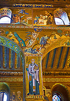 Medieval Byzantine style mosaics of the side aisle arches,  Palatine Chapel, Cappella Palatina, Palermo, Italy