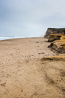 The bluffs at Pomponio State Beach under cloudy skies on Labor Day morning 2014.