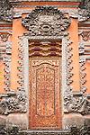 Ubud, Bali, Indonesia; intricate doors inside the Balinese Hindu temple, Pura Taman Saraswati