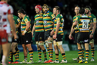 Victor Matfield looks on as the Northampton Saints forwards pack down for a scrum. Aviva Premiership match, between Northampton Saints and Gloucester Rugby on November 27, 2015 at Franklin's Gardens in Northampton, England. Photo by: Patrick Khachfe / JMP