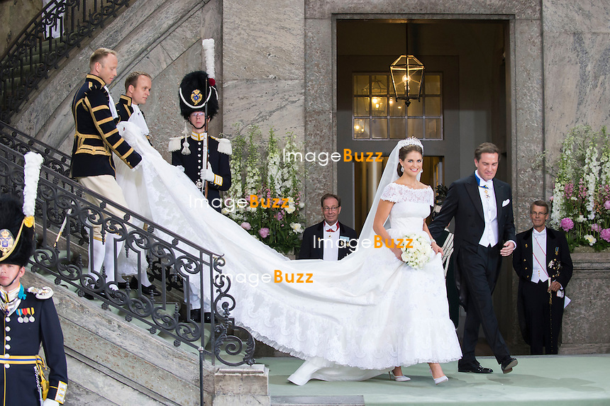 PRINCESS MADELEINE AND CHRISTOPHER O'NEILL WEDDING<br /> The Bridal Couple leave the Royal Chapel, Royal Palace, Stockholm, Sweden_08/06/2013
