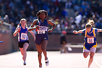 Ciera Sampson anchors the Nativity BVM team to victory in the Philadelphia Archdiocese Senior Girls 4x100 at the Penn Relays on April 23. Alex Patrick, Rachel Tusar, and Ally Kirkpatrick ran the first three legs respectively. Nativity BVM finished in a time of 53.02 seconds.