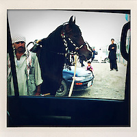 A man, a horse, a car, a girl and a boy seen through the window of a car in Kabul.