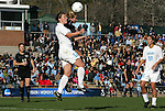 27 November 2009: North Carolina's Lucy Bronze (ENG) (12) and Wake Forest's Casey Luckhurst (behind) challenge for a header. The University of North Carolina Tar Heels defeated the Wake Forest University Demon Deacons 5-2 at Fetzer Field in Chapel Hill, North Carolina in an NCAA Division I Women's Soccer Tournament Quarterfinal game.