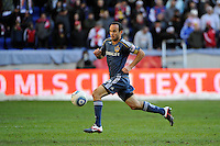 Landon Donovan (10) of the Los Angeles Galaxy during the 1st leg of the Major League Soccer (MLS) Western Conference Semifinals against the New York Red Bulls at Red Bull Arena in Harrison, NJ, on October 30, 2011.