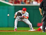28 September 2010: Philadelphia Phillies' infielder Brian Bocock in action against the Washington Nationals at Nationals Park in Washington, DC. The Nationals defeated the Phillies 2-1 on an Adam Dunn walk-off solo homer in the 9th inning to even up their 3-game series one game apiece. Mandatory Credit: Ed Wolfstein Photo