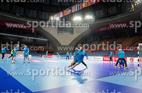 Borut Mackovsek of Slovenia and Klemen Cehte of Slovenia during practice session of Team Slovenia on Day 1 of Men's EHF EURO 2016, on January 15, 2016 in Centennial Hall, Wroclaw, Poland. Photo by Vid Ponikvar / Sportida