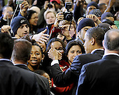 College Park, MD - February 11, 2008 -- United States Senator Barak Obama (Democrat of Illinois), a candidate for the 2008 Democratic nomination for President of the United States, greets supporters after a rally at the Comcast Center at the University of Maryland with supporters in College Park, Maryland on Monday, February 11, 2008..Credit: Ron Sachs / CNP