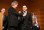 St Johnstone FC Scottish Cup Celebration Dinner at Perth Concert Hall...01.02.15<br /> Gordon Bannerman talks with captain Dave Mackay<br /> Picture by Graeme Hart.<br /> Copyright Perthshire Picture Agency<br /> Tel: 01738 623350  Mobile: 07990 594431