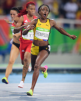 Jamaica Elaine Thompson wins a sprint double crossing the line to take the 200m at the Rio2016 Olympic Stadium. <br /> Rio de Janeiro, Brazil on August 17, 2016.<br /> CAP/CAM<br /> &copy;Andre Camara/Capital Pictures /MediaPunch ***NORTH AMERICAS ONLY***