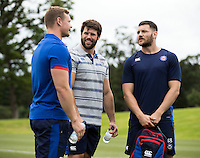 Chris Cook, Guy Mercer and Jeff Williams of Bath Rugby have a chat during a Bath Rugby photoshoot on June 21, 2016 at Farleigh House in Bath, England. Photo by: Rogan Thomson for Onside Images