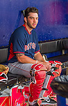 8 March 2015: Boston Red Sox catcher Blake Swihart dons his catching gear in the dugout prior to a Spring Training game against the New York Mets at Tradition Field in Port St. Lucie, Florida. The Mets fell to the Red Sox 6-3 in Grapefruit League play. Mandatory Credit: Ed Wolfstein Photo *** RAW (NEF) Image File Available ***