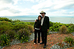 New Zealand, South Island: Kelly Atkinson and Lee Foster with view of harbor from a hill in Nelson. Photo copyright Lee Foster. Photo # newzealand125174