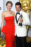 HOLLYWOOD, LOS ANGELES, CA, USA - MARCH 02: Jennifer Lawrence, Matthew McConaughey at the 86th Annual Academy Awards - Press Room held at Dolby Theatre on March 2, 2014 in Hollywood, Los Angeles, California, United States. (Photo by Xavier Collin/Celebrity Monitor)