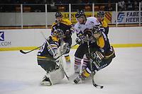 IJSHOCKEY: HEERENVEEN: THIALF: 16-01-2013, Friesland Flyers - Tilburg Trappers, Eindstand 1-3, Andrew Krelove (# 15) in een duel om de puck, ©foto Martin de Jong