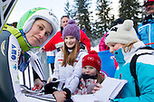 LOGAR Eva of Slovenia with fans during 11th Women FIS Ski Jumping World Cup competition in Planica replacing Ljubno  on January 25, 2014 at HS95, Planica, Slovenia. Photo by Vid Ponikvar / Sportida