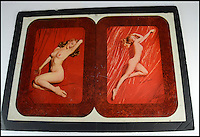 BNPS.co.uk (01202 558833)<br /> Pic: SAS/BNPS<br /> <br /> These racy tea trays from the straight laced 1950's must have caused a Vicar or two to rattle their tea cups - as they contain the famous nude shots of Marilyn Monroe.<br /> <br /> These original printing plates from 1953 show risque images of a young and racy Monroe that were curiously used to produce tea trays in a dour Britain where rationing still existed.<br /> <br /> The nude photographs were taken in 1949 when the budding actress was an unknown and found herself short of money. <br /> <br /> But four years later, after Monroe had established herself as one of Hollywood's most bankable stars, the raunchy images were plastered across the inaugural issue of Playboy magazine and the rest is history.