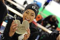 SCHAATSEN: HEERENVEEN: 03-02-2017, KPN NK Junioren, Podium Junioren C Dames 500m, winnares Georgie Dalrymple, ©foto Martin de Jong