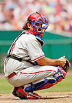 11 June 2006: Sal Fasano, catcher for the Philadelphia Phillies, looks back to the dugout during a game against the Washington Nationals at RFK Stadium, in Washington, DC. The Nationals shut out the visiting Phillies 6-0 to take the series three games to one...Mandatory Photo Credit: Ed Wolfstein Photo..