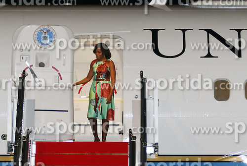 U.S. first lady Michelle Obama steps out of the plane at Siem Reap International Airport in Siem Reap, Cambodia, March 20, 2015. Michelle arrived here on Friday evening for a three-day visit. EXPA Pictures &copy; 2015, PhotoCredit: EXPA/ Photoshot/ Sovannara<br /> <br /> *****ATTENTION - for AUT, SLO, CRO, SRB, BIH, MAZ only*****