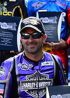 Sept. 14, 2012; Concord, NC, USA: NHRA pro stock motorcycle rider Eddie Krawiec during qualifying for the O'Reilly Auto Parts Nationals at zMax Dragway. Mandatory Credit: Mark J. Rebilas-