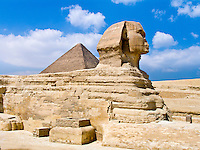 Sphinx and Great Pyramid of Khufu, Giza, Egypt