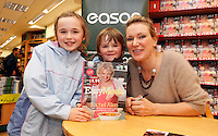 """*** NO FEE PIC ***.01/10/2011.Eason Ireland's leading retailer of books stationery, magazines & lots more hosted a book sigining by best selling cookery writer & TV cook Rachel Allen who signed copies of her new book """" Easy Meals"""" for fans Allison Flynn (9) & Adam Flynn (6) both from Rahney.at Eason O' Connell St, Dublin..Photo: Gareth Chaney Collins"""