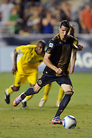 Sebastien Le Toux (9) of the Philadelphia Union shoots and scores a penalty kick. The Columbus Crew defeated the Philadelphia Union 2-1 during a Major League Soccer (MLS) match at PPL Park in Chester, PA, on August 05, 2010.