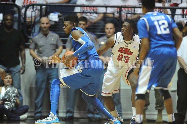 "Kentucky's Nerlens Noel (3) vs. Ole Miss' Reginald Buckner (23) at the C.M. ""Tad"" Smith Coliseum on Tuesday, January 29, 2013.  (AP Photo/Oxford Eagle, Bruce Newman).."