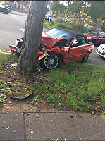 BNPS.co.uk (01202 558833)<br /> Pic:  Carrie-AnneKnox/BNPS<br /> <br /> Bradley Van Outen embedded his BMW convertible in a tree after showing off doing donuts around a local roundabout.<br /> <br /> A woman today told of a first date from hell that ended with her being seriously injured, suffering post-traumatic stress, losing her job and her admirer going to jail.<br /> <br /> Carrie-Anne Knox, from Bournemouth, was left lying unconscious and suffering a badly broken arm by Bradley Van Outen who ran away after crashing his car on their date.<br /> <br /> She is still recovering from her injuries eight months later and has lost her job as a hairdresser as a result. Van Outen has been jailed for driving offences.