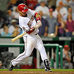 10 July 2008: Washington Nationals' catcher Jesus Flores in action against the Arizona Diamondbacks at Nationals Park in Washington, DC. The Diamondbacks defeated the Nationals 7-5 in 11 innings to take the rubber match of their 3-game series in the Nation's Capitol...Mandatory Photo Credit: Ed Wolfstein Photo