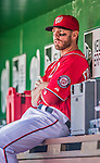 6 April 2014: Washington Nationals outfielder Kevin Frandsen sits in the dugout prior to a game against the Atlanta Braves at Nationals Park in Washington, DC. The Nationals defeated the Braves 2-1 to salvage the last game of their 3-game series. Mandatory Credit: Ed Wolfstein Photo *** RAW (NEF) Image File Available ***