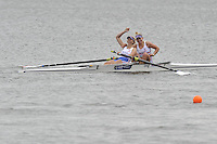 Brandenburg, GERMANY, GBR BW2-, Bronze Medalist, bow, Emily TAYLOR, Hannah ELSY, at the  2008 FISA U23 World Rowing Championships, Sunday, 20/07/2008, [Mandatory credit: Peter Spurrier Intersport Images].... Rowing Course: Brandenburg, Havel Rowing Course, Brandenburg, GERMANY