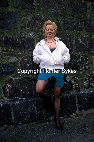 Prostitute,lady of the night, in mid afternoon, Aberdeen back street the red light district Scotland UK  from a story on the North Sea Oil Industry for the Sunday Times magazine.