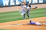LSU's Tyler Hanover  steals third as Ole Miss' Andrew Mistone takes the throw at Regions Park in the SEC Tournament in Hoover, Ala. on Thursday, May 24, 2012.  .LSU won 11-2.