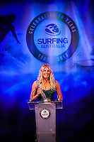Darling Harbour, Sydney. (20th February, 2013): Stephanie Gilmore (AUS) Female Surfer of the Year. Australian surfing celebrated its champions tonight with Mark Richards and Stephanie Gilmore honoured at the Australian Surfing Awards in Sydney...The Awards marked a significant milestone in Surfing Australia's history as it celebrated its 50th Anniversary following its formation in 1963 as the Australian Surfriders Association and over 500 guests celebrated at the gala event. It was an unprecedented gathering of Australian surfing legends from the past 50 years...Four-times World Champion Mark Richards was named Australia's Most Influential Surfer 1963-2013, while five-times World Champion Stephanie Gilmore was inducted as the 35th member of the Australian Surfing Hall of Fame...The campaign to find Australia's 10 Most Influential Surfers 1963-2013 was conducted through a public vote and through votes provided by the members of the Australian Surfing Hall of Fame...The 10, in order of votes received, was: Mark Richards, Simon Anderson, Nat Young, Michael Peterson, Midget Farrelly, Tom Carroll, Layne Beachley, Wayne Bartholomew, Mark Occhilupo and Bob McTavish...Peter 'Joli' Wilson's photo of the wave Cloudbreak off Fiji during the enormous run of swell in June won the Nikon Surf Photo of the Year and Storm Surfers 3D featuring Ross Clarke-Jones and Tom Carroll was named the Nikon Surf Movie of the Year...2013 AUSTRALIAN SURFING AWARDS WINNERS..Australian Surfing Hall of Fame Inductee: Stephanie Gilmore.Australia's Most Influential Surfer 1963-2013: Mark Richards.Male Surfer of the Year: Joel Parkinson.Female Surfer of the Year: Stephanie Gilmore.Rising Star: Jack Freestone.Waterman of the Year: Jamie Mitchell.ASB Surfing Spirit Award: Misfit Aid.Peter Troy Lifestyle Award: Bob Smith.Surf Culture Award: The Reef - by the Australian Chamber Orchestra and Tura New Music.Simon Anderson Club Award: Kirra Surfriders Club.Nikon Surf Movie of the Year: Storm Surfers 3D.Nikon