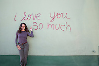 """The """"i love you so much"""" mural is Austin's most famous landmark and mural on South Congress Avenue - Stock Image."""