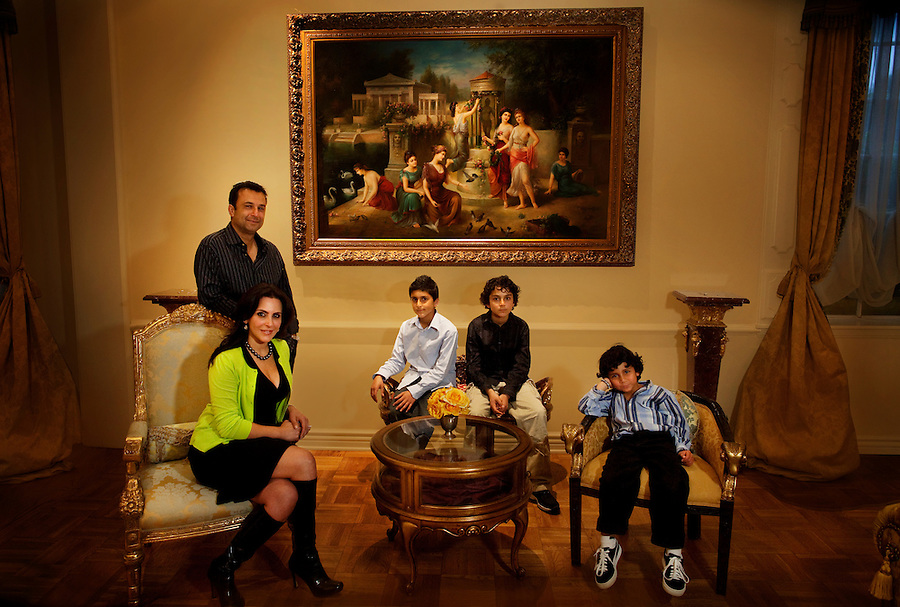 Los Angeles, California, March 20, 2011 - A portrait of the Nazarian family, from left: Daniel (standing), Sharona, Aaron, age 9, Noah, age 11 and Jonah, age 6 at their home in Beverly Hills.   .