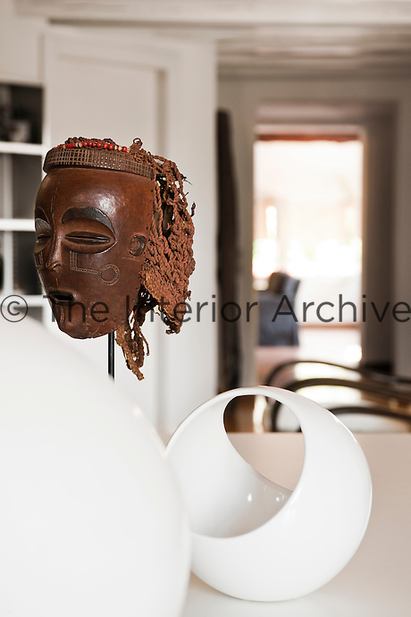 Close up of 'Chokwe' one of the Congo masks collected by the owner