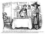 """Mamma. """"Dear, dear! Have I come home to a naughty little girl?"""" Nurse. """"Really, madam, I don't know what to do with Miss Mabel. She's been very troublesome all the afternoon, and now she says if she can't have cake before her bread-and-butter she'll go on hunger-strike!"""""""