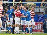 St Johnstone v Hamilton Accies...04.01.15   SPFL<br /> Simon Lappin is booked by referee Andrew Dallas for a high boot<br /> Picture by Graeme Hart.<br /> Copyright Perthshire Picture Agency<br /> Tel: 01738 623350  Mobile: 07990 594431