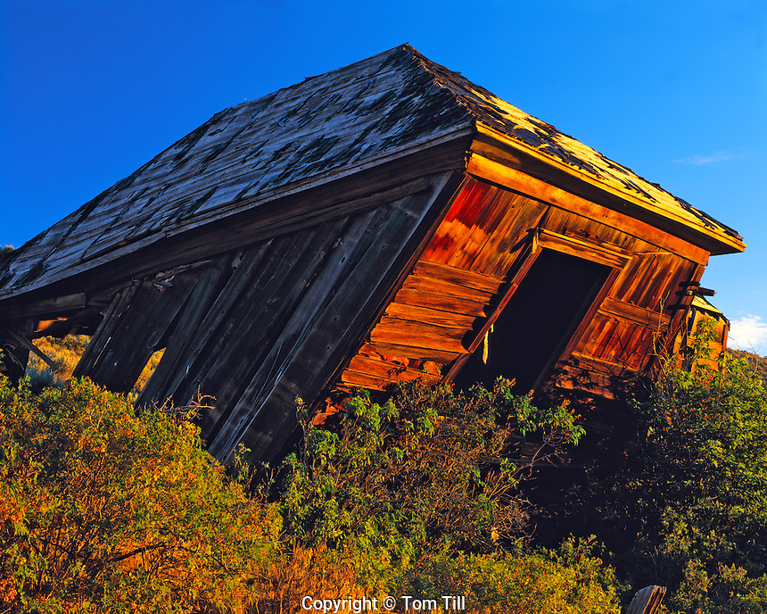 Dawn Light on Leaning Building in Eureka, Mining Ghost Town in Great Basin, Utah