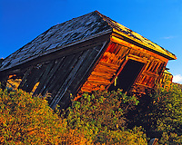 Dawn Light on Leaning Building in Eureka, Mining Ghost Town in Great Basin, Utah