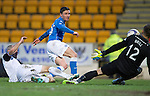 St Johnstone v Inverness Caledonian Thistle...20.12.14   SPFL<br /> Dean Brill saves from Michael O'Halloran<br /> Picture by Graeme Hart.<br /> Copyright Perthshire Picture Agency<br /> Tel: 01738 623350  Mobile: 07990 594431