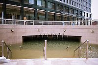 The shopping arcade at One New York Plaza in Lower Manhattan is seen completely submerged because of flooding from Hurricane Sandy, seen on Tuesday, October 30, 2012. Hurricane Sandy roared into New York disrupting the transit system and causing widespread power outages. Con Edison is estimating it will take four days to get electricity back to Lower Manhattan. (© Richard B. Levine)