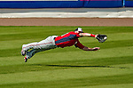 23 February 2013: Washington Nationals outfielder Corey Brown dives for a ball, but ends up short during Spring Training action against the New York Mets at Tradition Field in Port St. Lucie, Florida. The Mets defeated the Nationals 5-3 in their Grapefruit League Opening Day game. Mandatory Credit: Ed Wolfstein Photo *** RAW (NEF) Image File Available ***